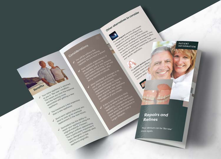 Repairs and Relines - Patient Marketing Brochure